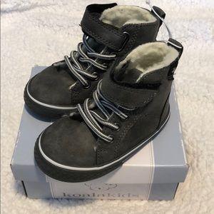 Grey suede toddler booties